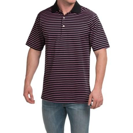 Peter Millar Newberry Cotton Lisle Polo Shirt - Black Stripe, Short Sleeve (For Men)