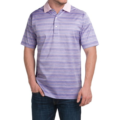 Peter Millar Harvey Cotton Lisle Polo Shirt - Parade Stripe, Short Sleeve (For Men)