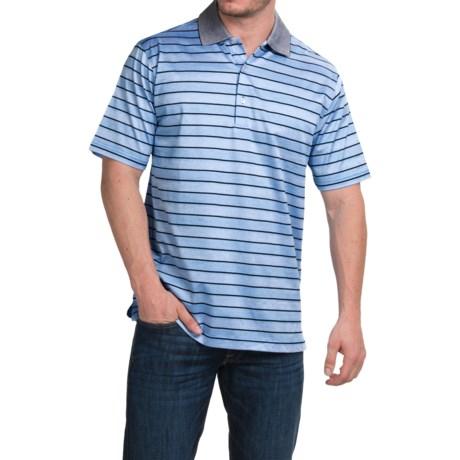Peter Millar Harvey Cotton Lisle Polo Shirt - Liberty Blue Stripe, Short Sleeve (For Men)
