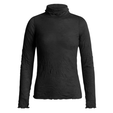 Sno Skins Crinkle Pointelle Turtleneck - Long Sleeve (For Women)