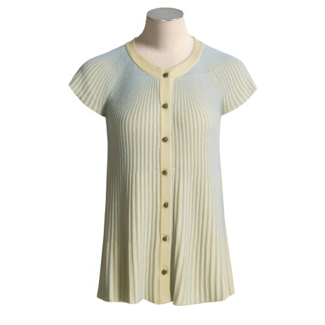 Nubby Cotton Rich Cardigan Sweater - Short Sleeve (For Women)