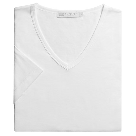 Sunspel Fitted Egyptian Cotton V-Neck T-Shirt - Lightweight, Short Sleeve (For Men)