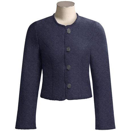 Stapf Short Boiled Wool Jacket with Notched Cuffs (For Women)