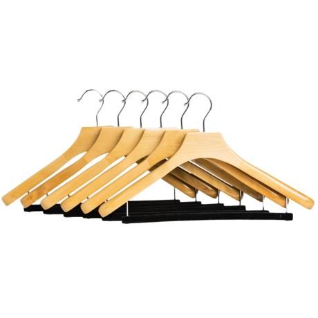 Great American Hanger Co. Deluxe Wooden Suit Hangers - Non-Slip Bar, 6-Pack