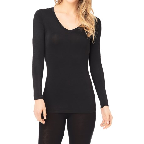 Cuddl Duds Softwear Stretch Jersey Shirt - V-Neck, Long Sleeve (For Women)