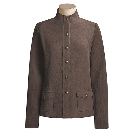 Pulp Wool Knit Jacket with Mandarin Neck Detail (For Women)