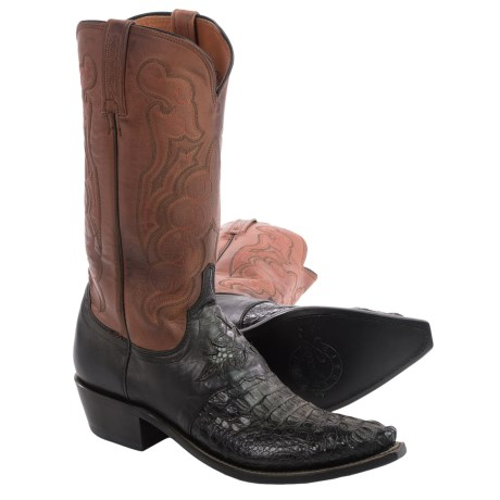 Lucchese Hornback Caiman Cowboy Boots - Snip-Toe (For Men)