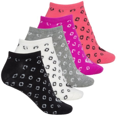 Roxy Print No-Show Socks - 5-Pack, Below the Ankle (For Women)
