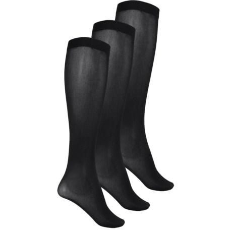 Kensie Solid Trouser Socks - 3-Pack, Over the Calf (For Women)