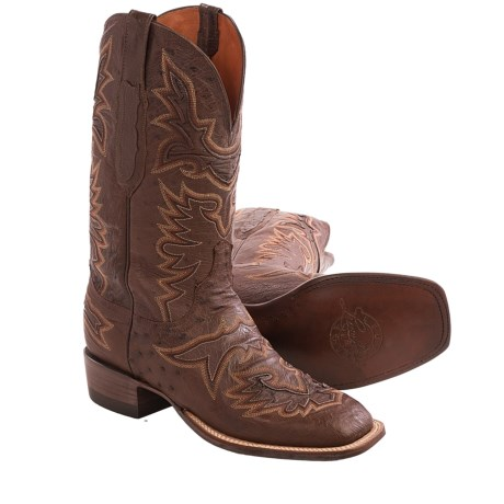Lucchese Brady Smooth Ostrich Cowboy Boots - Square Toe (For Men)