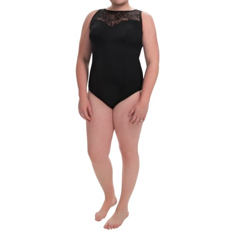 Longitude Sheer Love One-Piece Swimsuit - Lace High Neck (For Plus Size Women)