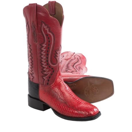 Lucchese Back Cut Cowboy Boots - Snake, Goat Leather (For Women)