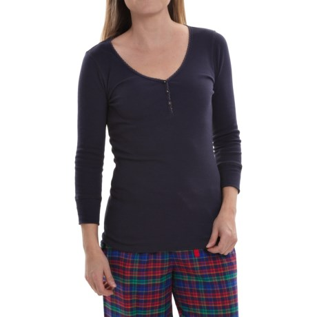 Jane and Bleecker Solid V-Neck Pajama Shirt - 3/4 Sleeve (For Women)