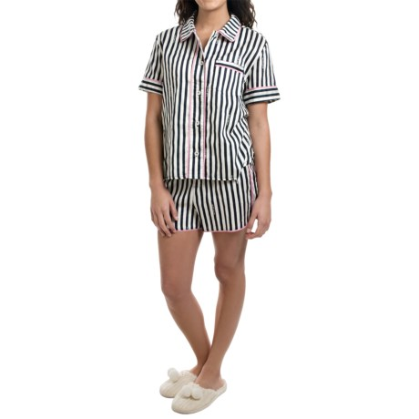 Jane and Bleecker Printed Sateen Shorty Pajamas - Short Sleeve (For Women)