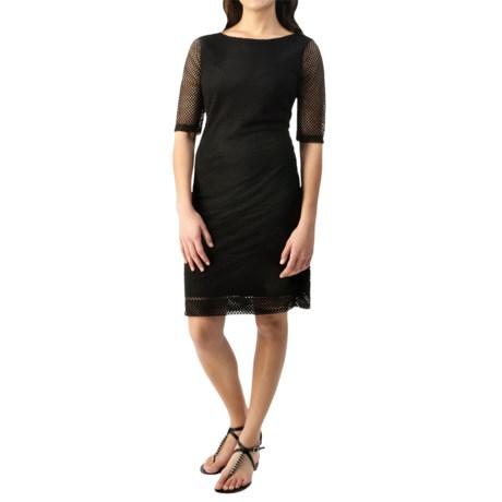 Net Overlay Stretch Dress - Short Sleeve (For Women)