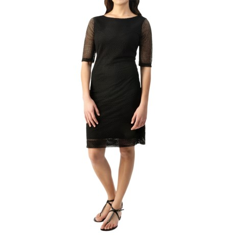 Specially made Net Overlay Stretch Dress - Short Sleeve (For Women)