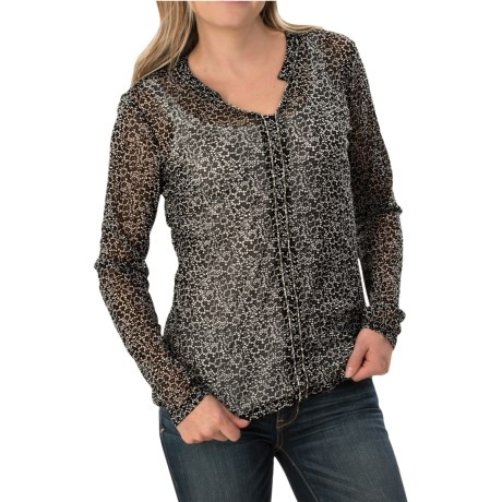 Mesh Printed Shirt - Long Sleeve (For Women)