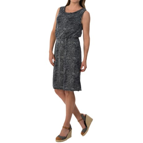 Specially made Printed Mesh Dress - Keyhole Back Tie, Sleeveless (For Women)