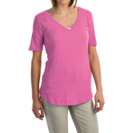 V-Neck Burnout Shirt - Cotton-Modal Blend, Short Sleeve (For Women)