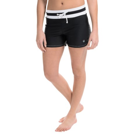 Free Country Drawstring Swim Shorts - Built-In Swim Brief (For Women)