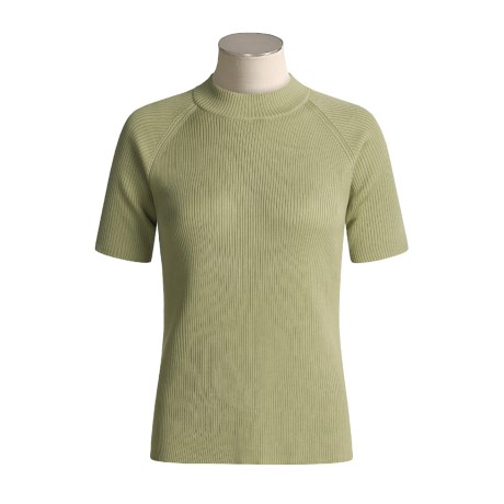 Orvis Silk Ribbed Sweater - Mock Turtleneck, Short Sleeve (For Women)
