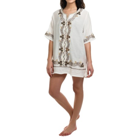 Studio West Embroidered Tunic Cover-Up - Short Sleeve (For Women)