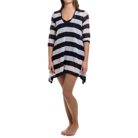 Longitude Nautical Mesh Cover-Up Dress - 3/4 Sleeve (For Women)