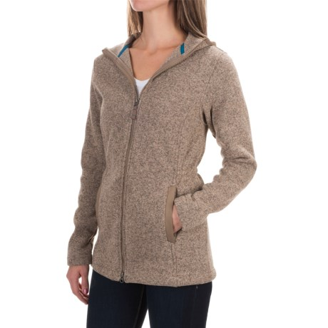 Specially made Sweater-Knit Fleece Parka - Hooded (For Women)
