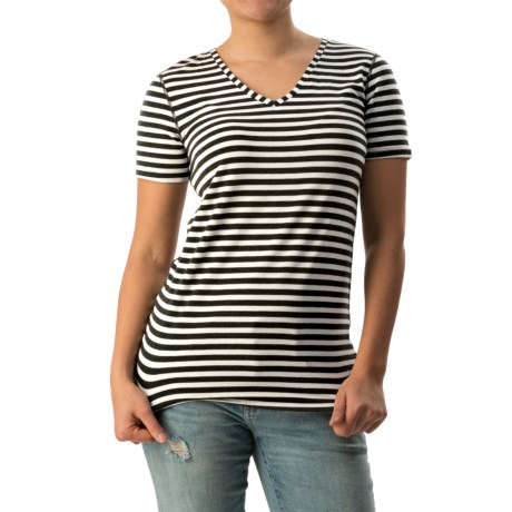 Striped V-Neck Shirt - Short Sleeve (For Women)