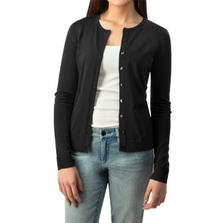 August Silk Button Cardigan Sweater - Silk Blend (For Women)