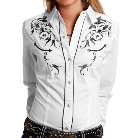Roper Victorian Bracket Western Shirt - Snap Front, Long Sleeve (For Women)