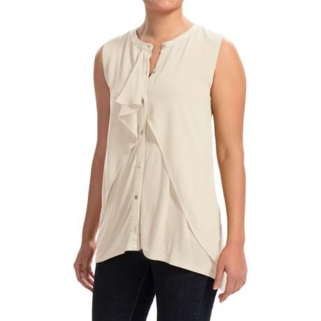August Silk Georgette Cascade Shirt - Sleeveless (For Women)