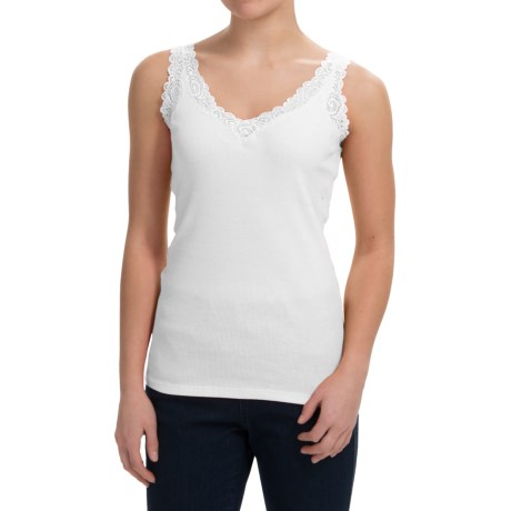 August Silk Lace-Trim Tank Top - V-Neck (For Women)