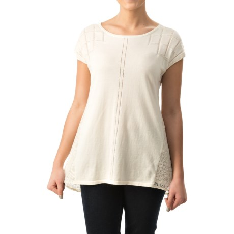 August Silk Pointelle Lace-Back Sweater - Short Sleeve (For Women)