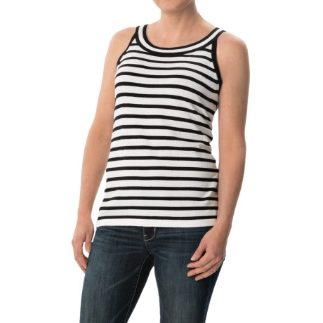 August Silk Striped Sweater - Sleeveless (For Women)