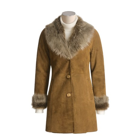 Aston Spanish Merino Shearling Coat with Toscana Shawl Collar and Cuffs (For Women)