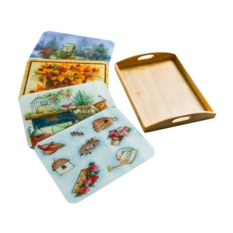 McGowan Seasonal Cutting Boards with Wooden Tray - 5-Piece Set