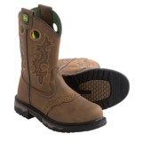 John Deere Footwear Embroidered Wellington Western Boots - Leather, Round Toe (For Little Kids)