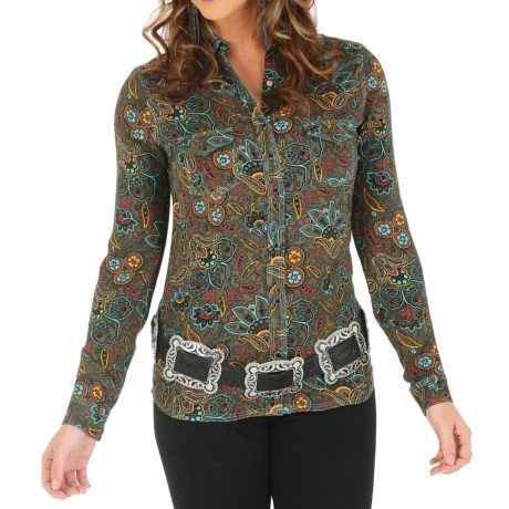 Wrangler One-Point-Yoke Printed Western Shirt - Snap Front, Long Sleeve (For Women)