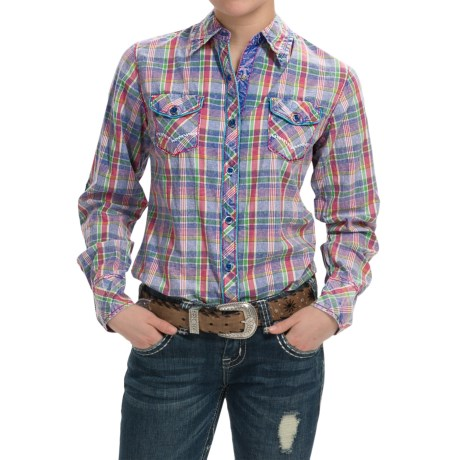 Cowgirl Up Vintage-Washed Plaid Shirt - Long Sleeve (For Women)