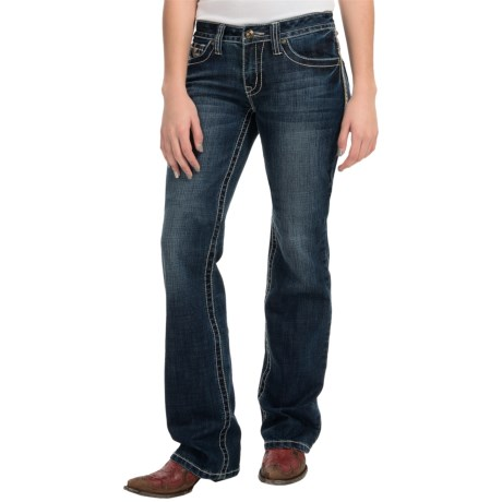 Cowgirl Up Diamond in the Rough Jeans - Mid Rise, Bootcut (For Women)