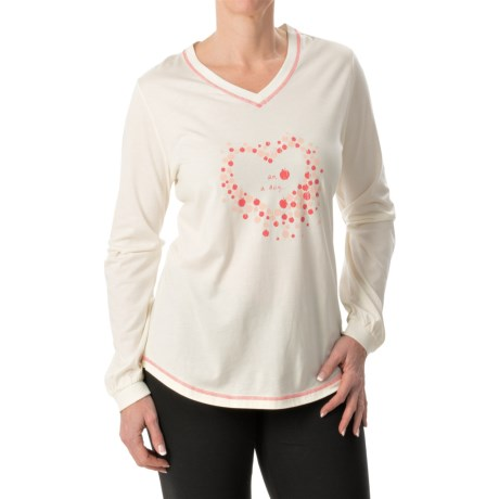 Calida Printed V-Neck Shirt - Micromodal®-Cotton, Long Sleeve (For Women)