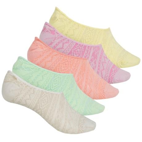 Muk Luks Microfiber Foot Liner Socks - 5-Pack, Below the Ankle (For Women)