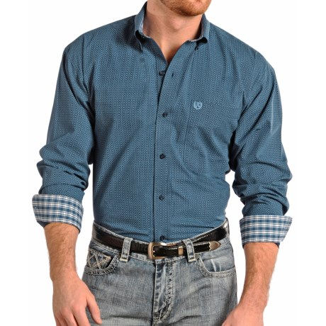 Panhandle Slim Select Peached Poplin Print Shirt - Long Sleeve (For Men and Tall Men)