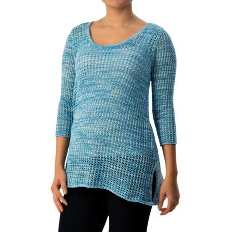 Jeanne Pierre Mesh Marled Sweater - 3/4 Sleeve (For Women)