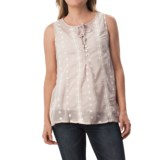 dylan Spanish Floral Henley Blouse - Sleeveless (For Women)