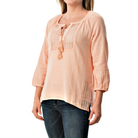 dylan Crochet Peasant Top - 3/4 Sleeve (For Women)
