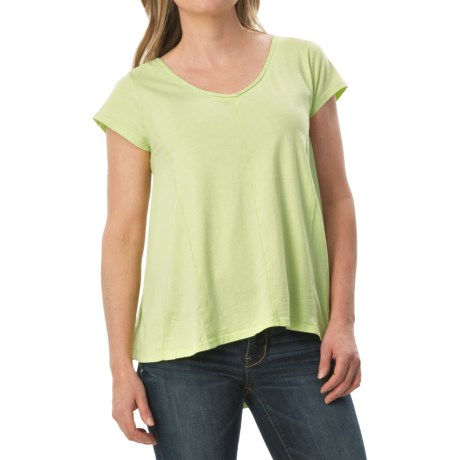 dylan High-Low Stitches Shirt - Organic Cotton, Short Sleeve (For Women)