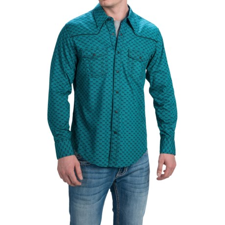 Rock & Roll Cowboy Poplin Print Shirt with Piping - Snap Front, Long Sleeve (For Men)