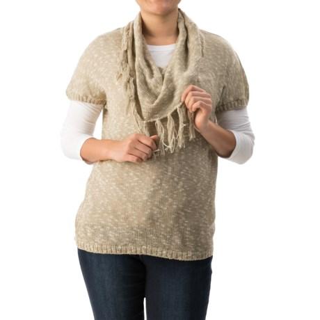 G.H. Bass & Co. Slub-Knit Fringed-Cowl Sweater - Short Sleeve (For Women)